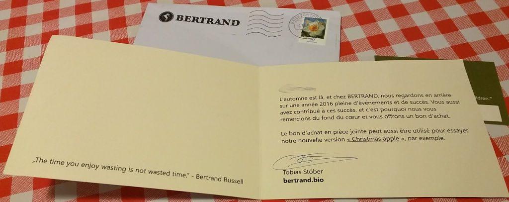 Carte dédicacée Bertrand