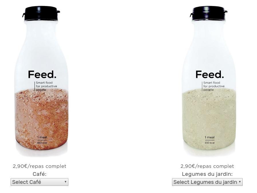 Les deux nouvelles saveurs de Feed : Café et Légumes (crédit : feedsmartfood.com)