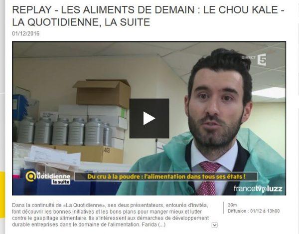 Anthony Bourbon, PDG de Feed, présente son produit aux caméras de France5