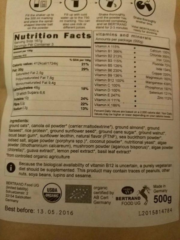 Étiquette nutritionnelle de Bertrand vegan