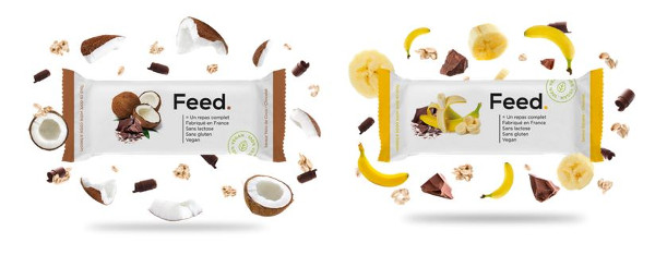 Les deux nouvelles barres Feed: Choco-coco et Choco-vanille.