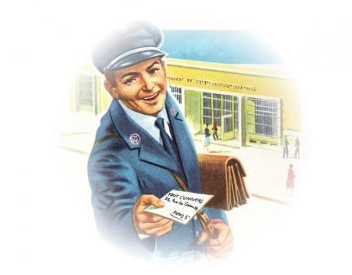 Un facteur distribue une lettre