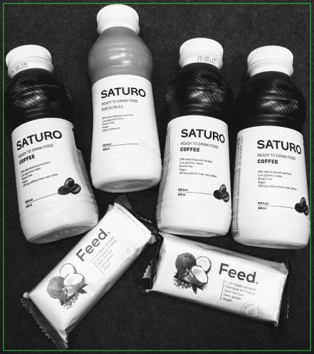 Quatre repas Saturo et les morceaux de barres Feed qui vont bien, pour compléter.