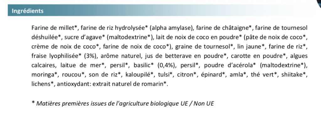 "Les ingrédients Feed bio ""Fraise-Basilic"""