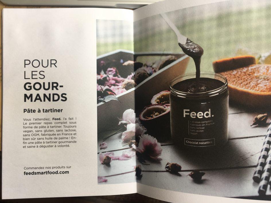 Une pré-annonce pour les clients curieux, ceux qui lisent les livrets de bienvenue : la pâte à tartiner complète Feed
